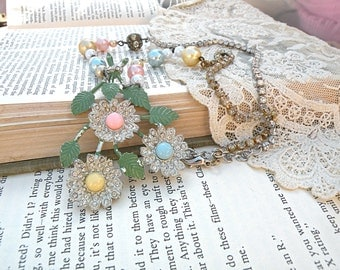 summer floral necklace assemblage pastel upcycle pin jewelry