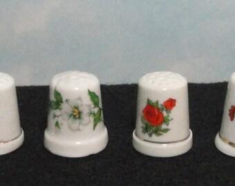 Vintage Flowers Ceramic Thimbles. Set of 4. 1980s Thimbles