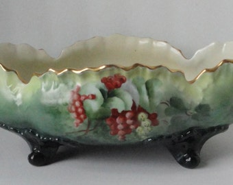 Vintage Hand Painted Grapes Porcelain Footed Bowl.