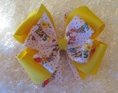 Easter Double Boutique Stacked Bow with Tags, Toddler Hair Bow, Yellow Easter Basket Hair Bow,  Happy Easter Hair Bow, Bow
