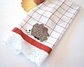Hedgehog Tea Towel, Tea Towels, Kitchen Towels, Dish Towel, Home and Living Towels, Hand Towel, Hostess Gift, Housewarming Gift, Housewares