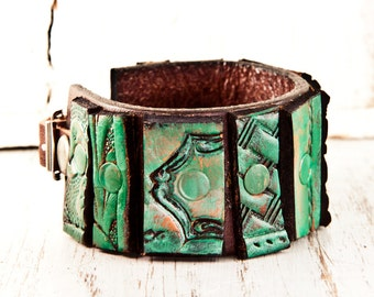 Mosaic Bracelet Cuff Leather Jewelry - Green With Buckle