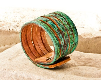 Eco Friendly Bracelet -  2016 Fashion Leather Cuffs Nature Jewelry - Woodland Earthy - Rustic Earth Tones -