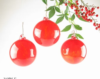 Blown Glass Ornament Suncatcher Christmas Tree Ornament Bright Red