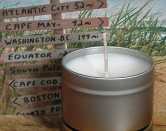 JERZEE GIRL Beach Candle Tin - Homemade Scented Soy Candles