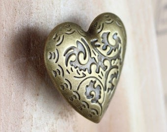 Heart Drawer Knobs - Decorative Knobs with pattern in Brass (MK164)