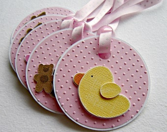 Set of Five Embossed Baby Giel Gift Tags