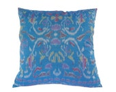 Ikat, Pillow, Cushion, Eclectic, Ethnic, Industrial, Rustic, Global Decor, Indonesian Textiles, Turquoise