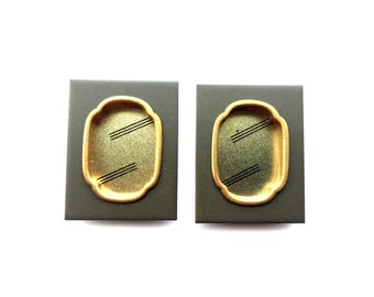 Japanese Door Pulls - Sliding Door Pulls - Pocket Door Pulls - Japanese Vintage Door Pulls  Rectangle Gray Gold (DP2A-1)