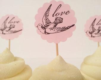 Wedding Love Bird Cupcake Toppers Bridal Shower Engagement Pink Set of 20