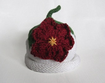 Boston Beanies Winter Flower Hat, Knit Organic Cotton Baby Hat great photo prop