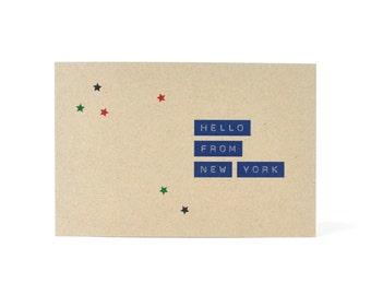 New York Postcard - recycled kraft paper postcard - Hello From New York - Manhattan postcard - Brooklyn postcard - NYC NY NY Postcard