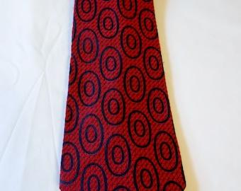 Vintage Men's Necktie Andhurst Burgundy Navy Polyester