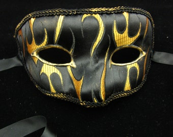 Burnin' Flame Mask, Black and Gold Flames Satin Covered Masquerade Mask