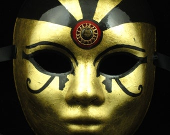 OOAK Cleo Mask, Fullfaced Haute Couture Gold leafed paper mache masquerade mask with Egyptian eyes