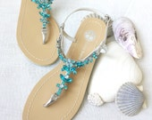 Wedding Sandals Something Blue Ombre Shoes for Beach, Destination Wedding with Rhinestone Crystal Strappy Silver Bridal Thong