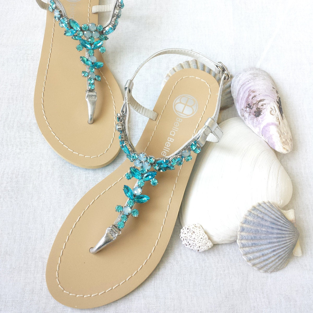 Wedding Sandals Something Blue Ombre Shoes For Beach