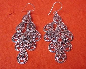 Balinese chandelier Silver 925 Earrings / Bali handmade earrings / silver 925