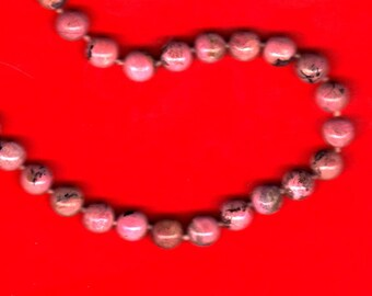 Vintage Pink Marble Necklace....1960s