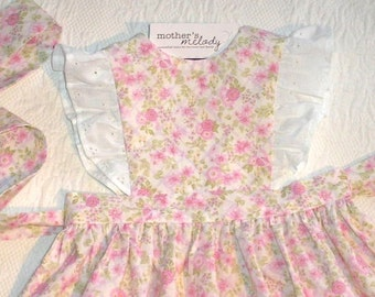Ready to Ship Size 2T Pinafore Jumper Dress in pink and lilac floral