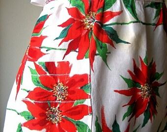 Apron Vintage Kitchen Skirt Cover Pinafore Cotton Christmas Holiday Poinsettias