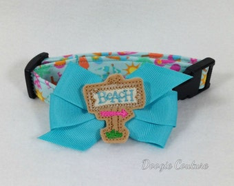 To The Beach We Go Dog Collar Size XS-Large  by Doogie Couture Pet Boutique