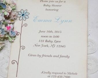Flower Invitations - Baby Shower Invitation - Birthday - Bridal Shower - Blue Flower - Set of 10