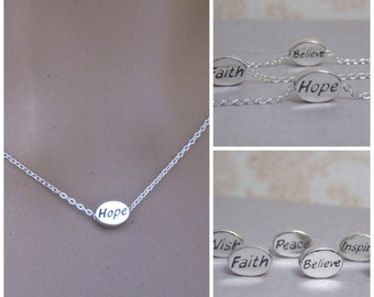 Tiny Hope necklace - Faith - Believe - Inspire - Wish - Peace - Dainty choker necklace - Inspiring word necklace - Photo NOT actual size
