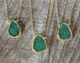 Emerald Necklace, May Birthstone, Gold Filled, Emerald Slice with Gold Electroplate, Rough Emerald, Rustic Boho Gypsy