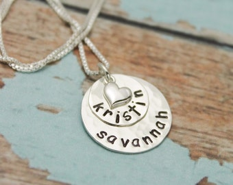 Two Layer NECKLACE Sterling Silver Personalized Mommy Gift Hand Stamped Jewelry