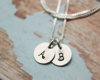 Two (2) Tiny Initial Sterling Silver Necklace Personalized Hand Stamped Jewelry