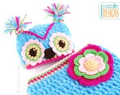 READY to SHIP Chunky Flower Owl Hat and Cocoon Set for Newborn Babies