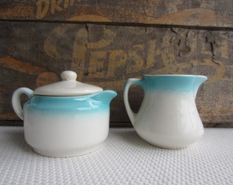 Vintage Airbrush Aqua Buffalo China Sugar Bowl and Creamer Restaurant Ware