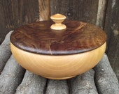 Wood Box with Lid - Hand Turned Lidded Wooden Box - Pear and Walnut Woods Wooden Box with Lid - Great gift idea