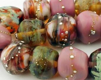 SRA Handmade Lampwork Glass Bead Set Pink Green Topaz Sheila Davis 'Parfait'