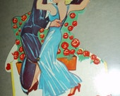 "Dancing Couple mechanical vintage VALENTINE CARD 1930s, very good, USA, 5"" tall, die cut"