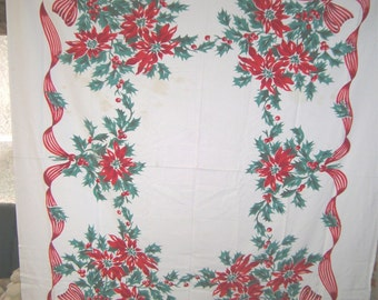 1950s PRINT KITCHEN TABLECLOTH - Christmas Ponisettias & Holly