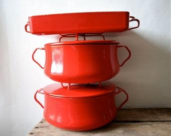 Vintage Dansk Kobenstyle Pot Pan Jens Quistgaard IHQ Open Roaster Enameled Casserole Red