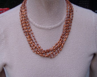 1960s Golden Brown Six Strand Necklace