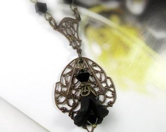 Black Flower Necklace, Swarovski Crystal Vintaj Brass Vintage Style Jet Black Flower Necklace, Romantic Sexy Goth Jewelry, Nature, Gift Idea