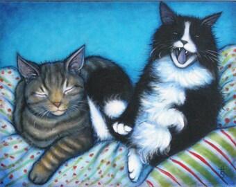 Tala and Mosie cat art original oil painting by Heidi Shaulis