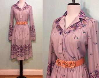 ON SALE Vintage 1970's Lavendar Floral Semi-Sheer Dress Size Medium