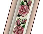 BP-FLO-065 - Sterling Silver Roses - Peyote PATTERN,  Peyote Bracelet pattern, beadweaving tutorial,beaded bracelet,bracelet pattern
