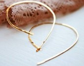 Gold Hoop Earrings . Curve Hoop  14K Gold Filled . Hammered Open Hoop Minimalist Earrings . Skinny Gold Earrings