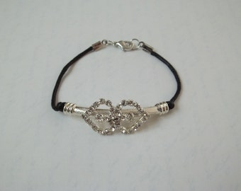 I Love You Double Heart Pave Crystal Bracelet