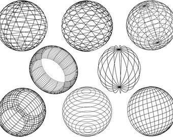 Geometric Sphere Ceramic Decals, Glass Decals or Enamel Decals
