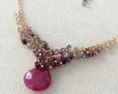 Ruby and Spinel Gemstone Cluster Necklace in Gold Vermeil