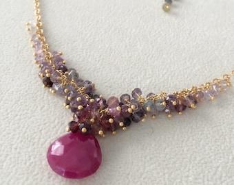 Gemstone Cluster Necklace in Gold Vermeil, Ruby, Spinel
