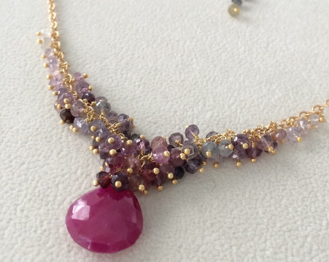 Gemstone Cluster Necklace in Gold Vermeil, Ruby, Spinel