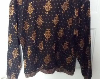 metallic sweater black copper crest sparkle small medium grunge  boho 70s 80s jumper